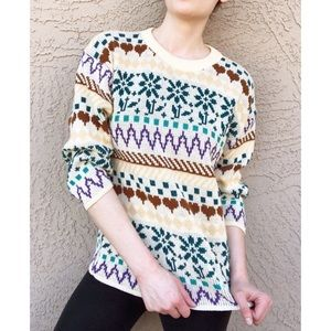 VTG 1980's Heart Snowflake Patterned Cosby Sweater